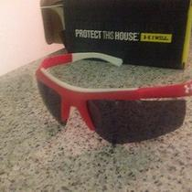 Under Armour Core Sunglasses Red on White With Graphite Lenses - Baseball  Photo