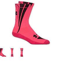 Under Armour Dagger Bolt Crew Socks Hot Pink W/black Unisex Heat Gear 3 Pair Photo