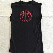Under Armour Heat Gear Boy Youth S Fitted Sleeveless T-Shirt Basketball Black Photo