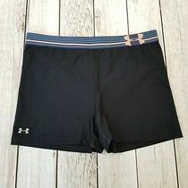 Under Armour Heat Gear Shorts Womens Tag Cut Waist 30.5 Black Blue Pink Photo