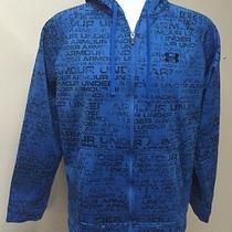 Under Armour Men's Blue Black Print Full Zip Hoodie Sweatshirt Size M Photo