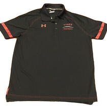 Under Armour Mens Polo Shirt Large Black Red Heat Gear Loose Football Coach Photo