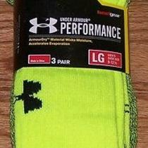 Under Armour Mens Performance Athletic Crew Socks 3 Pair Large Size 9-12 Green  Photo