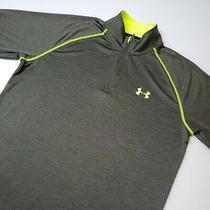 Under Armour Mens Size Medium Ua Tech 1/4 Zip Long Sleeve Running Green Yellow Photo