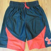 Under Armour Polyester Athletic Shorts Red & Black Sz Medium M Photo