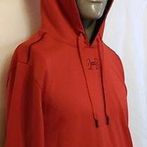 Under Armour Red Loose Fit Hoodie Size Large Ua Logo Jogging Running Walking Photo