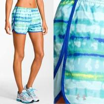 Under Armour Running Shorts Escape Print in Aqua Blue Wish Tobago Nwt Usd35 Xl Photo