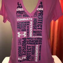 Under Armour T-Shirt Women's Short Sleeve Pink v Neck Protect This House Sz M Photo