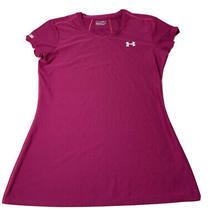 Under Armour Ua Heat Gear Pink Womens Size M Short Sleeve Scoop Neck Top Euc Photo