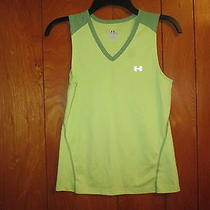 Under Armour Womens S Green Athletic Running Shirt Stretch Tank Top Mini Mesh Photo