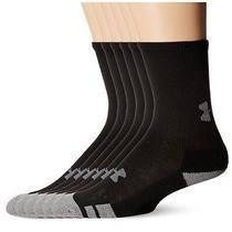 Under Armour Youth Ua Resistor Training Crew Black Socks 6 Pair Large Shoe 1-4 Photo