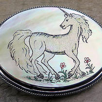 Unicorn Mother of Pearl Fantasy Animal Vintage Belt Buckle Photo
