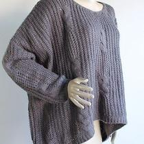 Unif X Urban Outfitters Gray Cable Knit Chunky Oversized Hi Low Sweater Sz L Photo