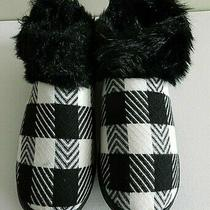 Unique Avon Large Size 9-10 Black / White Checkered House Shoes / Slippers  Photo