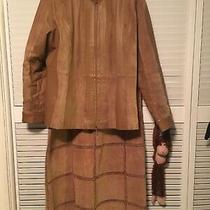 Unique Bagatelle Solid Camel Brown Genuine Suede Leather Skirt Suit Size 16 Photo