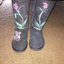 Unique Floral Painted Black Tall Authentic Ugg Boots Size 8 Photo