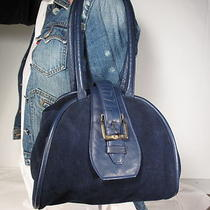 Unique Lrg. Navy Blue Suede Leather Shldr Strap. Boho Handbag Purse Photo