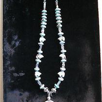 Unique Natural Turquoise Bear Fetish Aquamarine Sterling Silver Necklace Vintage Photo