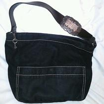 Unique Rare Fossil Black Canvas Rhindstone Buckle Shoulder Bag Purse Photo