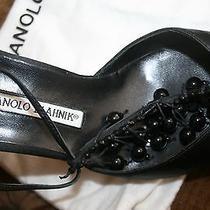 Unique & Rare Manolo Blahnik Pointy Toe Heels 40 1/2 Black Silk & Beads Stunning Photo