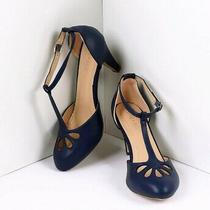 Unique Vintage Chase and Chloe Navy Blue Pleather Cutout Kimmy T-Strap Heels 10 Photo