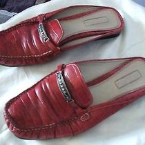 Unisa Red Leather Croc Design Flat Slip on Mules With Sz 9  Photo