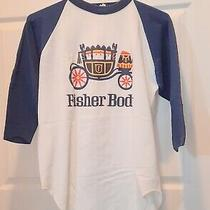 Unisex Baseball T-Shirt With Fisher Body Coach General Motors  Large White Blue  Photo