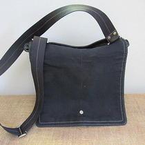 Unisex Black Canvas & Leather Coach Messenger Laptop Diaper Bag Crossbody Photo