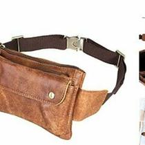 Unisex Brown Genuine Leather Waist Bag Messenger Fanny Pack Bum Bag for Men Wom Photo