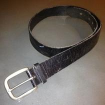 Unisex Fossil Black Leather Wide Belt Silver Buckle Medium 33-38.5 Vintage Look Photo