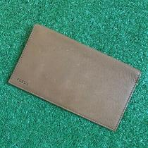 Unisex Genuine Leather Fossil Folding Wallet With Cardholders Light Brown  Photo