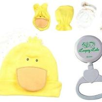 Unisex Gerber Cap and Newborn Mittens Yellow W/ Loopsy Lulu Rattle- One Size Photo