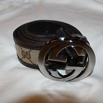 Unisex Gucci Belt With Interlocking G Buckle 26-27 Waist Photo