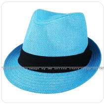 Unisex Men Women Summer Aqua Blue Black Band Straw Trilby Fedora Hat One Size Photo