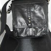 Unisex Messenger Black Pebble Leather Bag Purse Satchel by Fossil Long Crossbody Photo