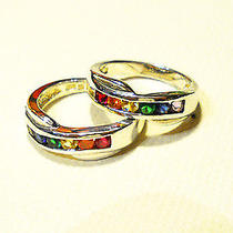 Unisex Sterling Silver Pride Rainbow Ring Swarovski Crystals Sz8 Last One Photo