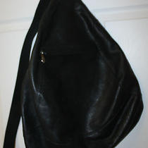 Unisex Wilsons Genuine Black Leather Hobo Shoulder Sling Bag Teardrop Backpack Photo