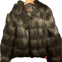 Unreal Fur Elements Black Faux Fur Jacket Sz L Nwot Photo