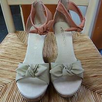 Unrestricted New Blush Ankle Strap High Cork Wedge Heel Sandal Us Sz 6m Photo