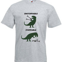 Unstoppable T-Rex Help for Dinosuars Inspired Men's Printed T-Shirt Photo