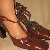 Unusual Miu Miu Prada 60s Avant Garde Patent Leather Cut Out Heels Shoes 40- 9 Photo