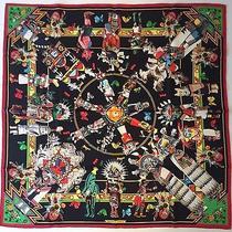 Unworn Hermes Vintage 90cm Silk Scarf Kachinas Kermit Oliver Grail Black Cw Photo