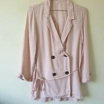 Uo Blush Pink Nude Dbl Breasted Jacket Sz M Crepe Ties Photo