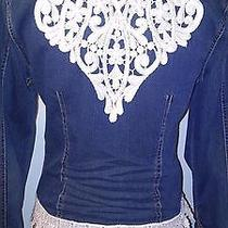 Upcycled Denim Jacket Womens Medium Lace Photo