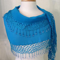 Uptown Sheer Beaded Turquoise Shawl Photo