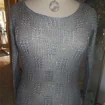 Urban Day Silver/gray Sweater Size M/l and Mother of Pearl Pendant Necklace Photo