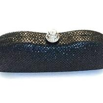 Urban Expression Lined Black Glitter Box Clutch Purse Handbag Silver Chain Strap Photo
