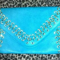Urban Expressions Turquoise Aqua Gold Chains and Grommets Clutch Photo