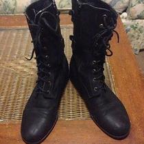 Urban Free Vintage Moto Lace Up Topshop Wild Diva Grunge Black Leather Boots 8.5 Photo