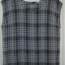 Urban Outfitters Bdg Blue Gray Plaid Punk Grunge Grommet Oversize Muscle Top L Photo